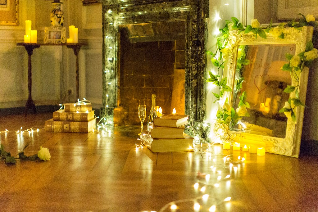 …to the fireplace where champagne awaited them!