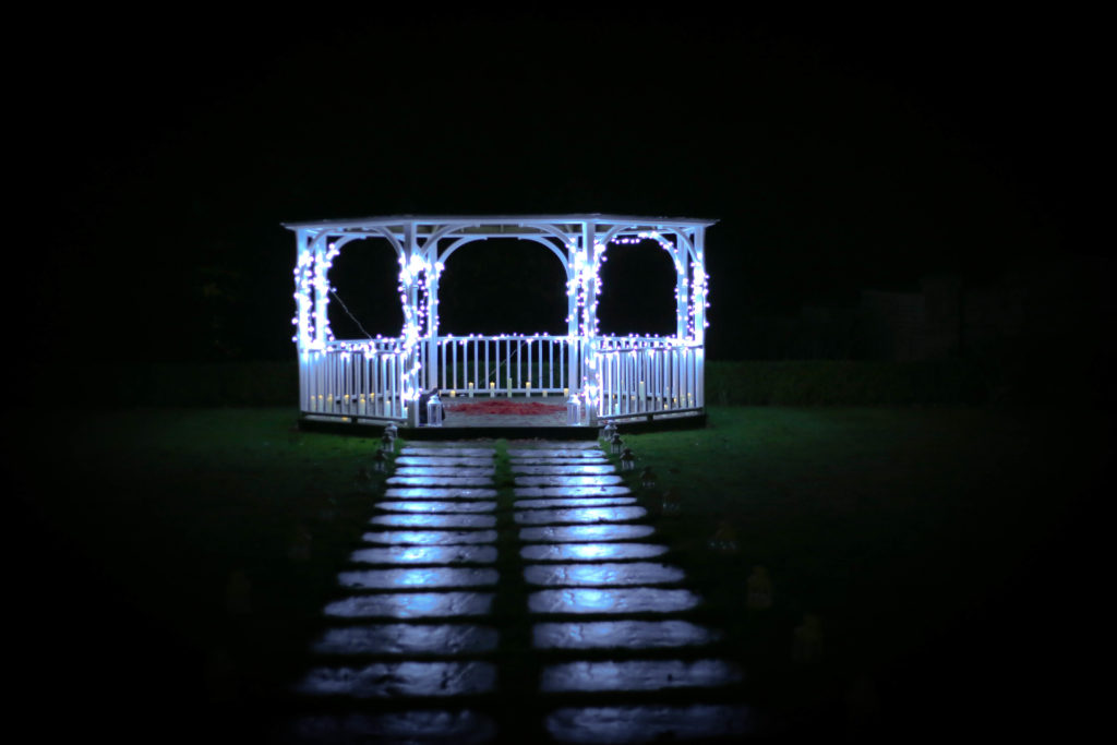 bandstand in Kent hotel lit up with fairy lights