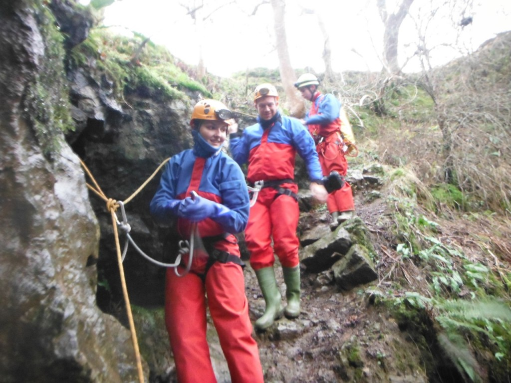Meanwhile the couple are caving through the Lake district caves...