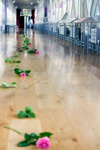 As Lindsay walked in, a trail of roses (her favorite flowers) lay in wait...
