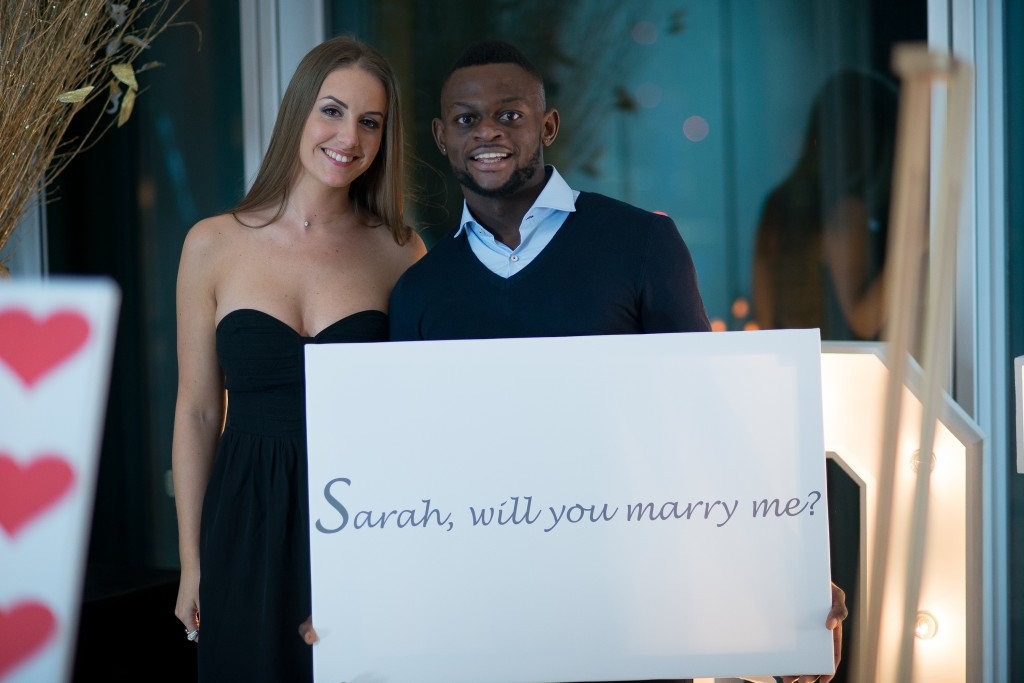 The happy couple after their romantic proposal in The Shangri La