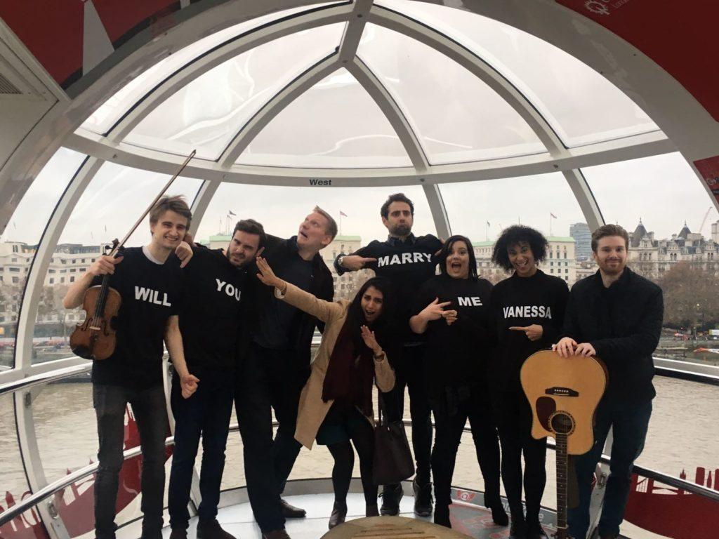 London Eye Singing Flashmob Proposal