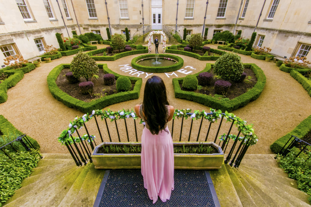 A Romeo and Juliet proposal in Syon Park Courtyard