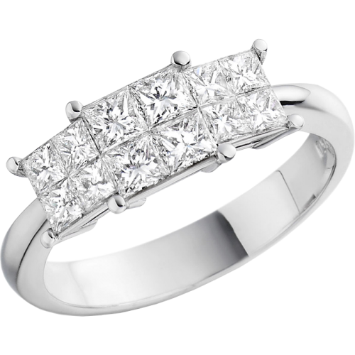 This ring has twelve princess cut stones giving the illusion of a three-stone ring!