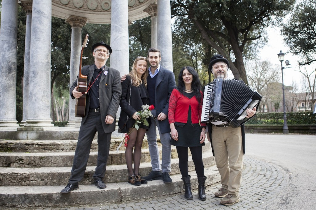 The happy couple with our amazing Italian musicians & singer