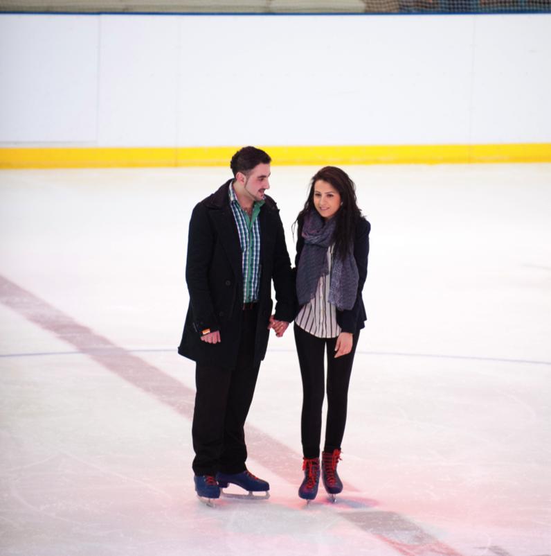 Christmas ice skating marriage proposal at Alexandra Palace, London
