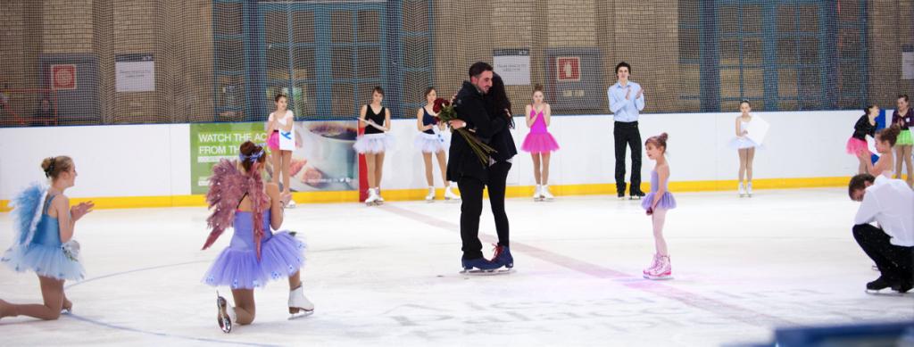 Christmas ice-skating proposal at Alexandra Palace, London