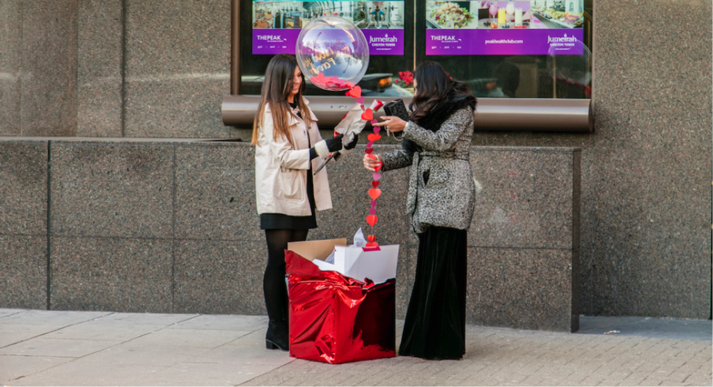 Balloon Marriage Proposal at The Shard planned by The Proposers.